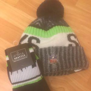 NWT Seahawks Hat and Socks